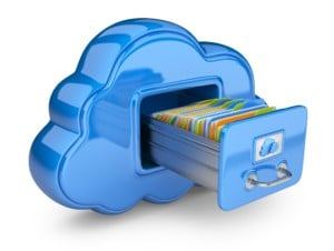vector de cloud storage azul